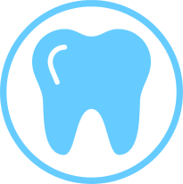 Dental insurance circle icon with tooth
