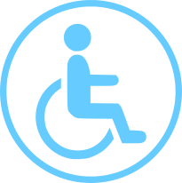 Disability insurance circle icon with man in wheelchair