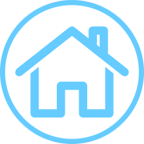 Long--term care insurance circle icon with house