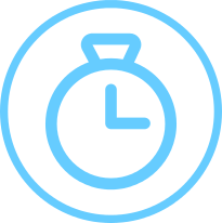 short-term medical insurance circle icon with stopwatch