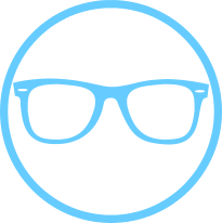 Vision insurance circle icon with pair of eye glasses