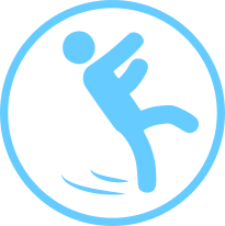 Workers compensation insurance circle icon with man slipping